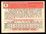 1952 Topps REPRINT #98  Billy Pierce  Back Thumbnail