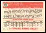1952 Topps REPRINT #277  Early Wynn  Back Thumbnail