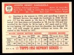 1952 Topps REPRINT #227  Joe Garagiola  Back Thumbnail
