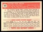 1952 Topps REPRINT #403  Bill Miller  Back Thumbnail