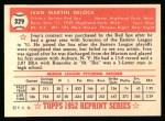 1952 Topps REPRINT #329  Ike Delock  Back Thumbnail