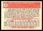1952 Topps REPRINT #274  Ralph Branca  Back Thumbnail