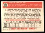 1952 Topps REPRINT #232  Billy Cox  Back Thumbnail