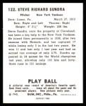 1940 Play Ball Reprint #122  Sandy Sundra  Back Thumbnail