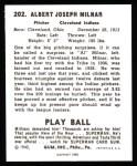 1940 Play Ball Reprint #202  Al Milnar  Back Thumbnail