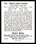 1940 Play Ball Reprint #224  Pie Traynor  Back Thumbnail