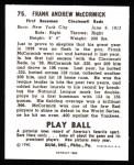 1940 Play Ball Reprint #75  Buck McCormack  Back Thumbnail