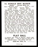 1940 Play Ball Reprint #14  Rabbit McNair  Back Thumbnail
