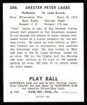 1940 Play Ball Reprint #206  Chet Laabs  Back Thumbnail