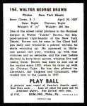 1940 Play Ball Reprint #154  Jumbo Brown  Back Thumbnail