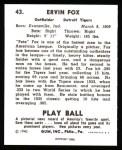 1940 Play Ball Reprint #43  Pete Fox  Back Thumbnail
