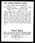 1940 Play Ball Reprint #230  Red Faber  Back Thumbnail