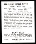 1940 Play Ball Reprint #136  Cotton Pippen  Back Thumbnail