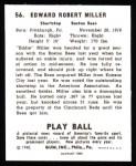 1940 Play Ball Reprint #56  Ed Miller  Back Thumbnail