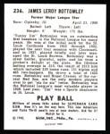 1940 Play Ball Reprint #236  Jim Bottomley  Back Thumbnail