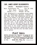 1940 Play Ball Reprint #189  Jimmy Bloodworth  Back Thumbnail