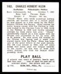 1940 Play Ball Reprint #102  Chuck Klein  Back Thumbnail