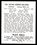 1940 Play Ball Reprint #126  Julius Solters  Back Thumbnail