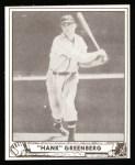 1940 Play Ball Reprint #40  Hank Greenberg  Front Thumbnail