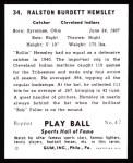 1941 Play Ball Reprint #34  Rollie Hemsley  Back Thumbnail