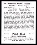 1941 Play Ball Reprint #54  Pee Wee Reese  Back Thumbnail