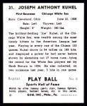 1941 Play Ball Reprint #31  Joe Kuhel  Back Thumbnail