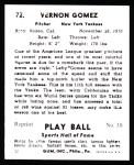 1941 Play Ball Reprint #72  Lefty Gomez  Back Thumbnail