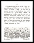 1915 Cracker Jack Reprint #121  Hub Perdue  Back Thumbnail