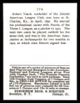 1915 Cracker Jack Reprint #174  Robert Veach  Back Thumbnail