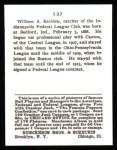 1915 Cracker Jack Reprint #137  William Rariden  Back Thumbnail