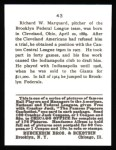 1915 Cracker Jack Reprint #43  Rube Marquard  Back Thumbnail