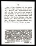 1915 Cracker Jack Reprint #18  Johnny Evers  Back Thumbnail