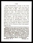1915 Cracker Jack Reprint #132  Les Nunamaker  Back Thumbnail