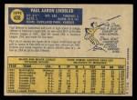 1970 O-Pee-Chee #408  Paul Lindblad  Back Thumbnail