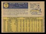 1970 O-Pee-Chee #23  Bill Robinson  Back Thumbnail