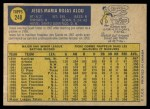 1970 O-Pee-Chee #248  Jesus Alou  Back Thumbnail
