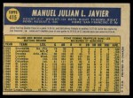 1970 O-Pee-Chee #415  Julian Javier  Back Thumbnail