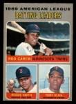 1970 O-Pee-Chee #62   -  Rod Carew / Tony Oliva / Reggie Smith AL Batting Leaders Front Thumbnail