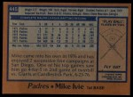 1978 Topps #445  Mike Ivie  Back Thumbnail
