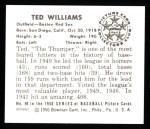 1950 Bowman REPRINT #98  Ted Williams  Back Thumbnail