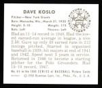 1950 Bowman REPRINT #65  Dave Koslo  Back Thumbnail
