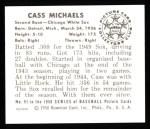 1950 Bowman REPRINT #91  Cass Michaels  Back Thumbnail