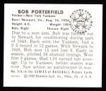 1950 Bowman REPRINT #216  Bob Porterfield  Back Thumbnail