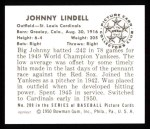 1950 Bowman REPRINT #209  Johnny Lindell  Back Thumbnail