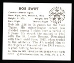 1950 Bowman REPRINT #149  Bob Swift  Back Thumbnail