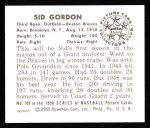 1950 Bowman REPRINT #109  Sid Gordon  Back Thumbnail