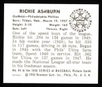 1950 Bowman REPRINT #84  Richie Ashburn  Back Thumbnail
