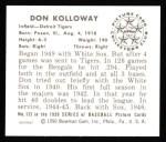 1950 Bowman REPRINT #133  Don Kolloway  Back Thumbnail