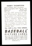 1952 Bowman REPRINT #249  Hank Thompson  Back Thumbnail