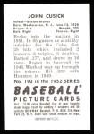 1952 Bowman REPRINT #192  John Cusick  Back Thumbnail